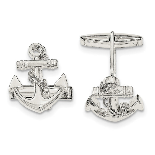 Anchor with dangle rope Cufflinks Sterling Silver QQ560