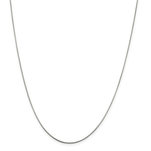 24 Inch .8mm Round Snake Chain Sterling Silver Rhodium-plated MPN: QSN020R-24