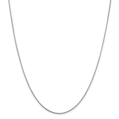 18 Inch 1mm Round Snake Chain Sterling Silver Rhodium-plated MPN: QSN030R-18