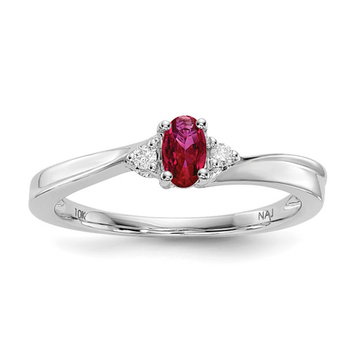Created Ruby Birthstone Ring Sterling Silver Rhodium-plated MPN: QBR25JUL