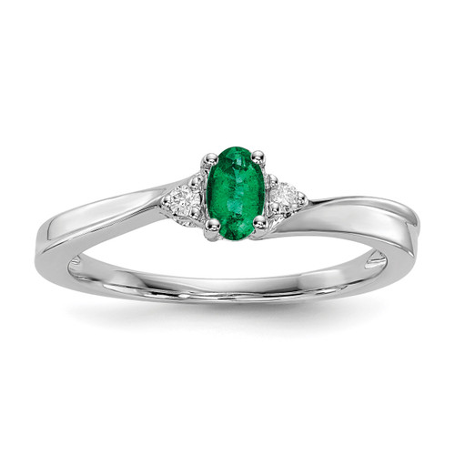 Created Emerald Birthstone Ring Sterling Silver Rhodium-plated MPN: QBR25MAY