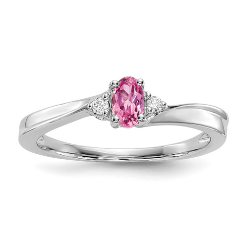Created Pink Tourmaline Birthstone Ring Sterling Silver Rhodium-plated MPN: QBR25OCT