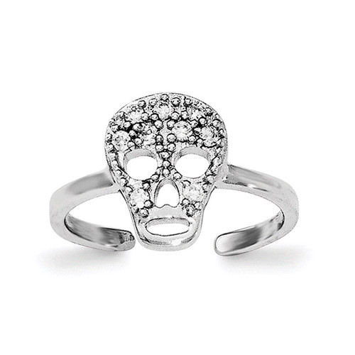 CZ Skull Toe Ring Sterling Silver Rhodium-plated QR6042