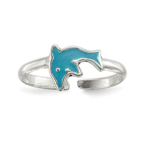 Enameled Dolphin Toe Ring Sterling Silver Polished QR6783