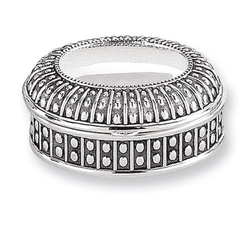 Antiqued Silver-plated Large Oval Dot Jewelry Box GL1619