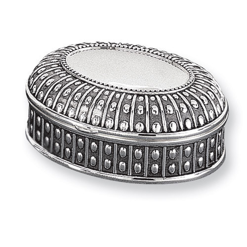 Antiqued Silver-plated Medium Oval Dot Jewelry Box GL1621