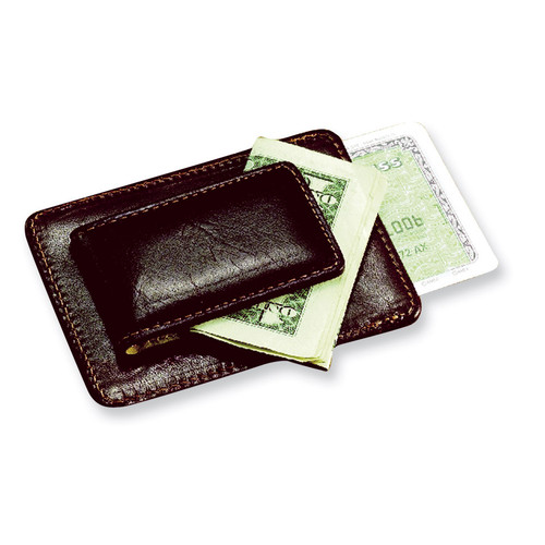 Brown Leather Credit Card Case and Money Clip GL8802