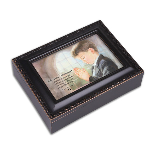 Boy First Communion Distressed Black Finish Music Box GM11578