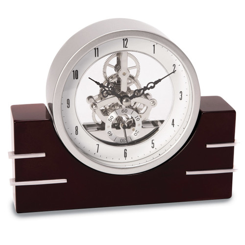 Lacquered Mahogany Wood with Stainless Steel Accents Clock GM13374