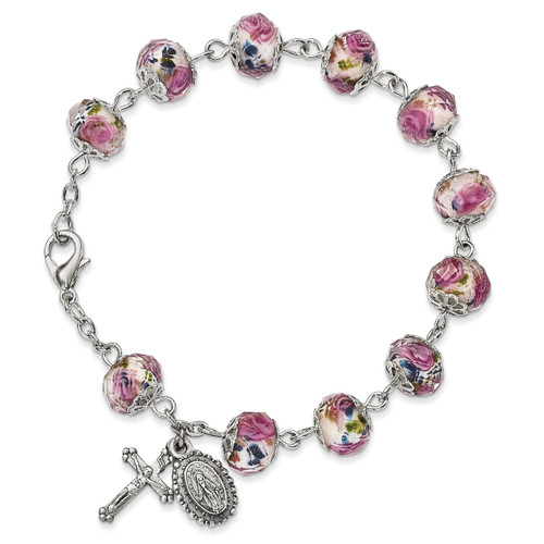 Handpainted White/Pink Beads Rosary Bracelet Silver-tone GM13497