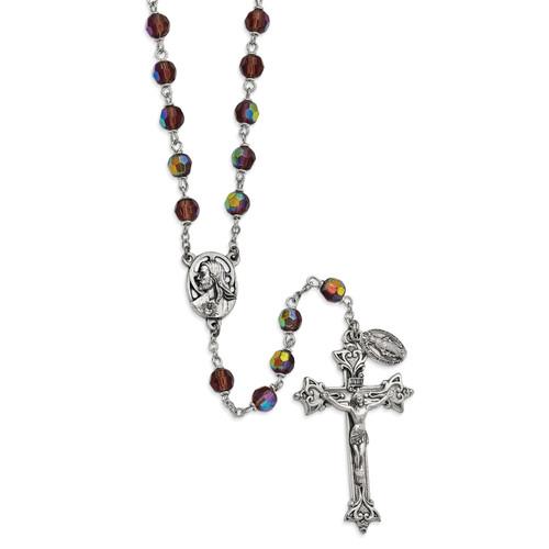 Purple Czech Crystal Italian Made Rosary Silver-tone GM13515