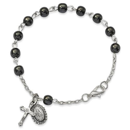 Hematite Rosary Bracelet Silver-tone GM13550