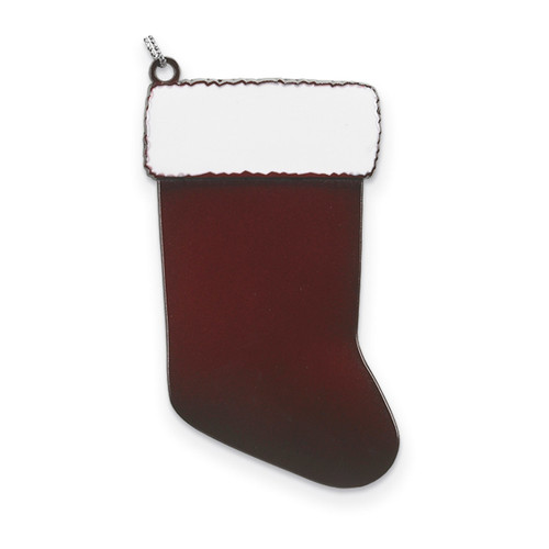Burgundy Engravable Stocking Ornament Pewter GM13826