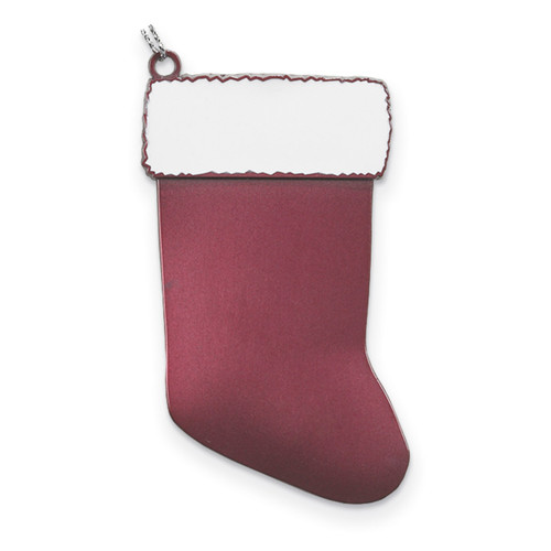 Pink Engravable Stocking Ornament Pewter GM13830