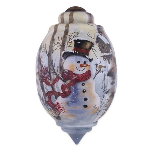Ne'Qwa Dona Gelsinger Birch Forest Snowman Ornament GM13907