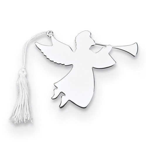 Nickel-plated Trumpeter Angel Ornament with White Tassel GM14648