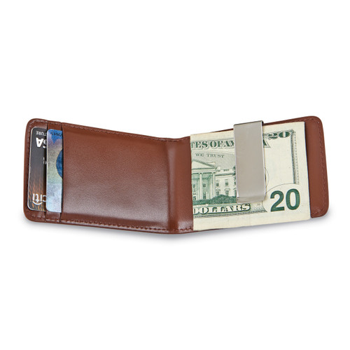 Brown Leather Folding Card Case with Money Clip GM14704