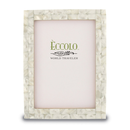 White 5 x 7 Inch Mother of Pearl Picture Frame GM15028