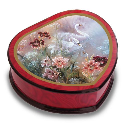 Artist Lena Liu Heart Shape Swan with Daylilies Music Box GM15098