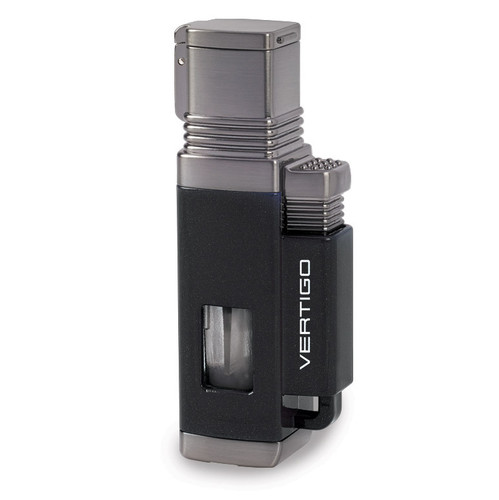 Vertigo Churchill Metallic Black and Gunmetal Quad Flame Torch Lighter GM15376