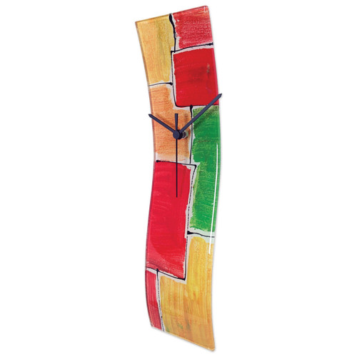 Red/Yellowith Green Artisan Glass Curved Wall Clock GM16189