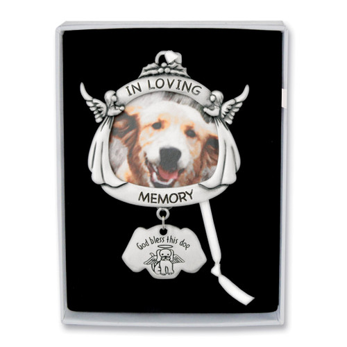 In Loving Memory Dog Angel Photo Ornament Silver-tone GM17294