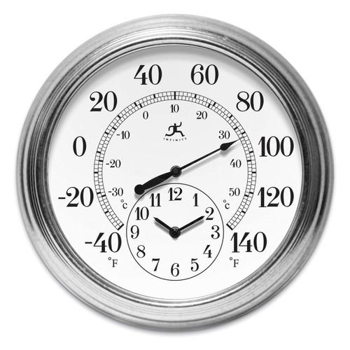 Prague Indoor Outdoor Steel Wall Clock Thermometer GM17585