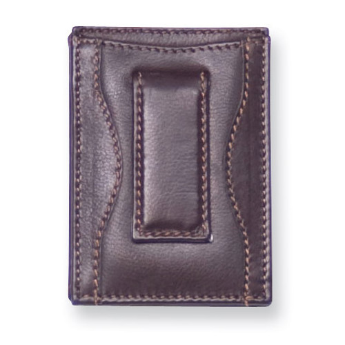 Black Leather Money Clip Card Case GM4741