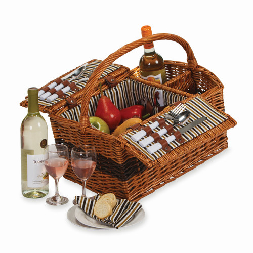 Hand-woven Willow Service for Two Wine Carrier and Picnic Basket GP7784