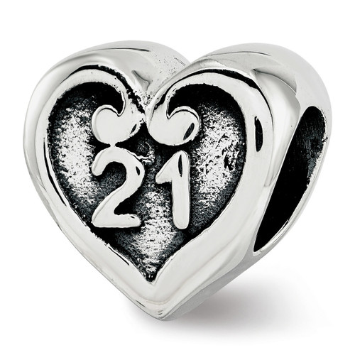 21 Heart Bead Sterling Silver QRS3817