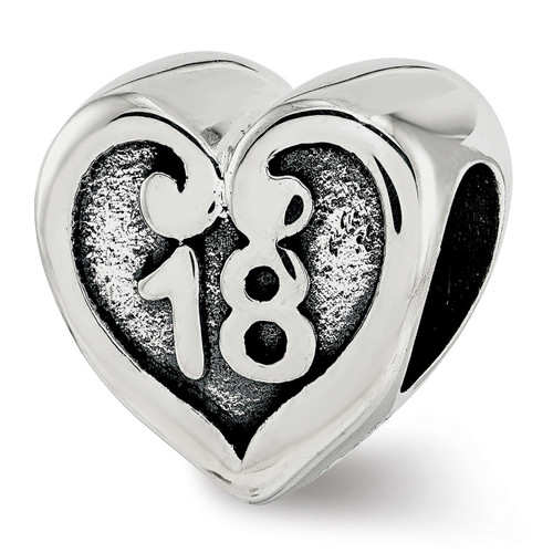 18 Heart Bead Sterling Silver QRS3818