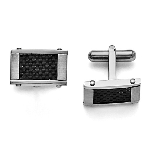 Black Carbon Fiber Inlay Cufflinks Stainless Steel Brushed & Polished SRC101