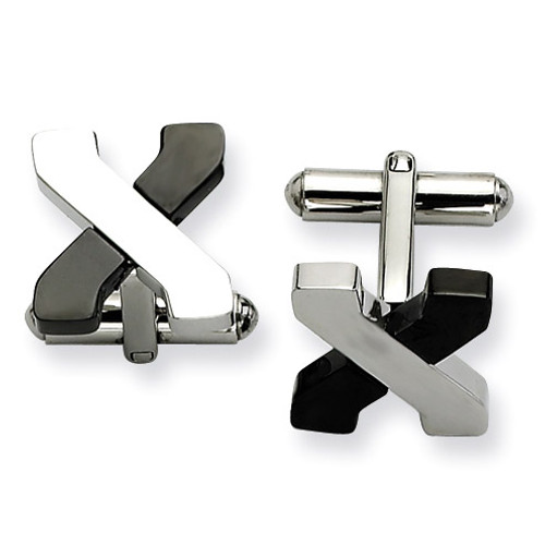 Black-plating and Polished Cufflinks Stainless Steel SRC193