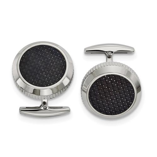 Black Carbon Fiber Inlay Cufflinks Stainless Steel Polished SRC375