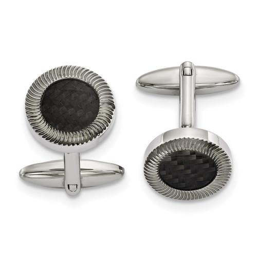 Black Carbon Fiber Inlay Cufflinks Stainless Steel Polished SRC386