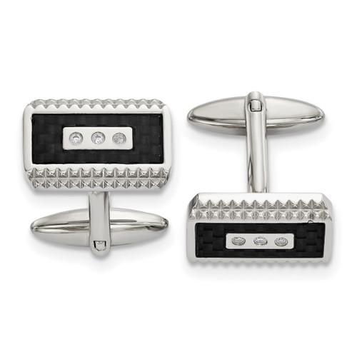 Black Carbon Fiber Inlay with Diamond CZ Cufflinks Stainless Steel Polished SRC387