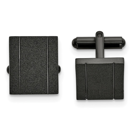 Black IP-plated Laser cut Cufflinks Stainless Steel Polished SRC393
