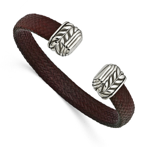 Edward Mirell 10mm Stainless Steel with Carbon Fiber Cuff Bracelet