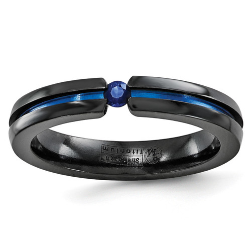 Edward Mirell Black Ti Sapphire & Blue Anodized 4mm Band