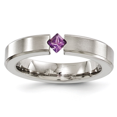 Edward Mirell Titanium Brushed Amethyst 4mm Band, MPN: EMR163