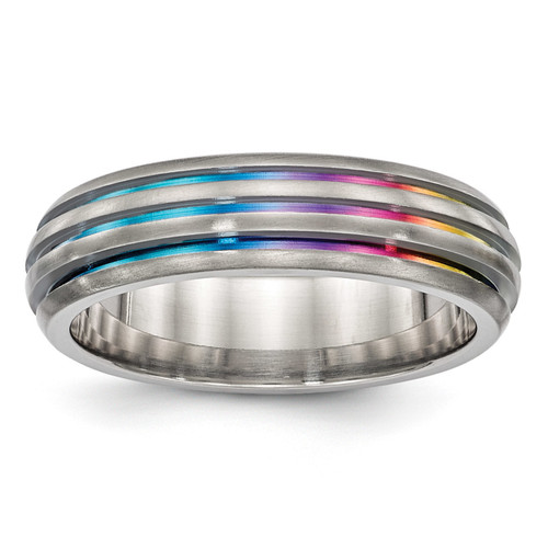 Edward Mirell Titanium Triple Groove Multi-color Anodized Ring, MPN: EMR272