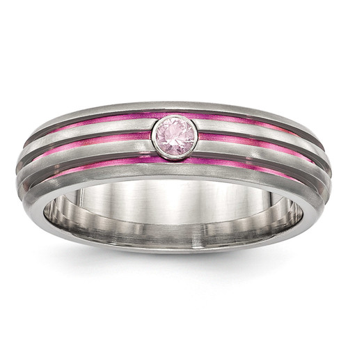 Edward Mirell Titanium Trpl Groove Pink Anodized & Pink Sapphire Ring, MPN: EMR273
