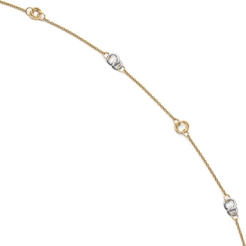 1 inch Extender Anklet 10 Inch 14k Two-tone Gold Polished LF703-10