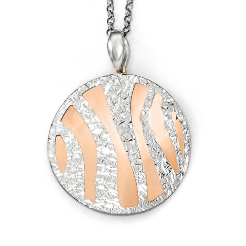 Diamond-cut with 2 inch Extender Necklace 16 Inch Sterling Silver Rose-tone by Leslie's Jewelry MPN: QLF580-16, UPC: 191101550966