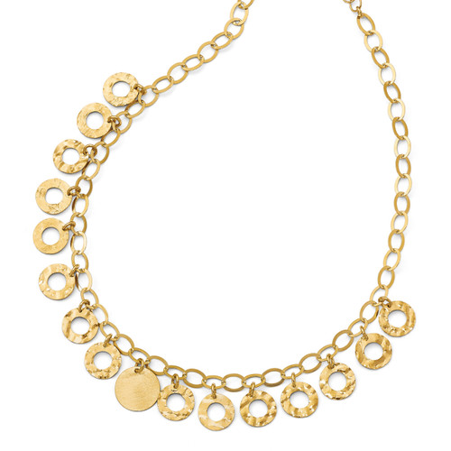 Circles with 2 inch Extender Necklace 16 Inch Sterling Silver Gold-tone by Leslie's Jewelry MPN: QLF692-16