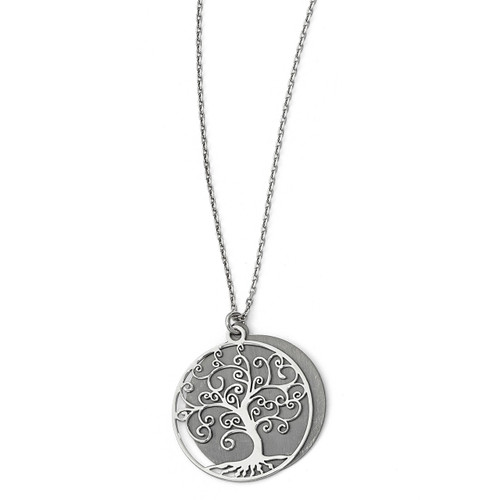 Ruthenium-plated Tree with 2 inch Extender Necklace 16 Inch Sterling Silver by Leslie's Jewelry MPN: QLF729-16, UPC: 191101890178