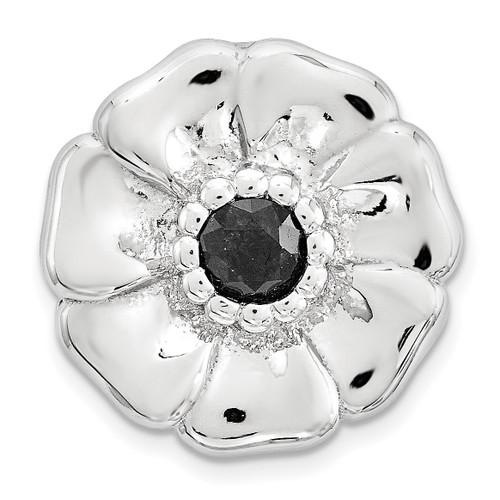 Black Sapphire Flower Chain Slide Sterling Silver Small QSK1684