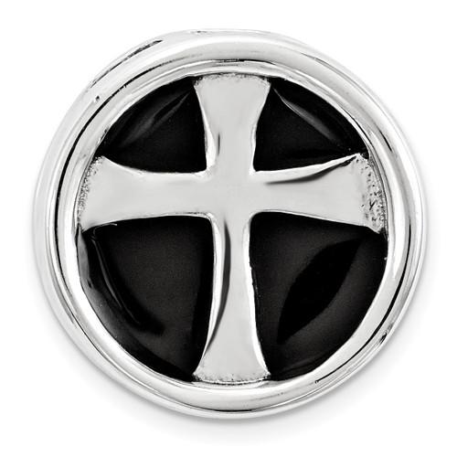 Black Enameled Cross Chain Slide Sterling Silver Small QSK1688
