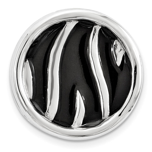 Black Enameled Zebra Print Chain Slide Sterling Silver Small QSK1689