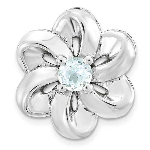 Aquamarine Flower Chain Slide Sterling Silver Small QSK1698